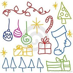 Childlike Christmas Doodle Drawings by Madartists, via Dreamstime