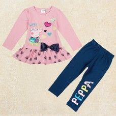 Peppa Pig Little Girls Spring Fall Long Sleeve Cartoon Embroidery Embroidered Stitching Cotton Pants (Set of 2 Peppa Pig, Baby Girl Dresses, Baby Dress, Sport Outfits, Kids Outfits, Kids Fashion, Fashion Outfits, Girl Bottoms, Cotton Pants