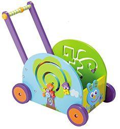 Boikido Jouet en Bois Coffre à jouets Chariot d'activités lapin