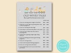 old wives tales baby gender game baby by MagicalPrintable on Etsy