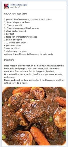 Crock Pot Beef Stew-i've made this twice now and i find it so yummy it's hard not to eat the whole pot the day i make it. Crock Pot Beef Stew-i've made this twice now and i find it so yummy it's hard not to eat the whole pot the day i make it. Crock Pot Food, Crockpot Dishes, Crock Pot Slow Cooker, Beef Dishes, Slow Cooker Recipes, Crockpot Recipes, Soup Recipes, Cooking Recipes, Crock Pot Stew