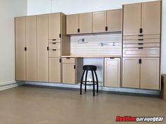 Garage Cabinet Systems, Garage Storage Systems, Garage Organization, Organisation Ideas, Kitchen Cabinets In Garage, Garage Storage Cabinets, Kitchen Appliances, Custom Garages, Cool Garages
