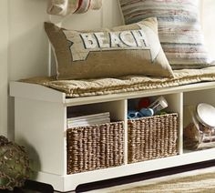 Storage bench in beach house mudroom...