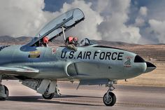 T-33 Shooting Star. I love this airplane. They were on Elmendorf AFB as trainers when the F4's were there..