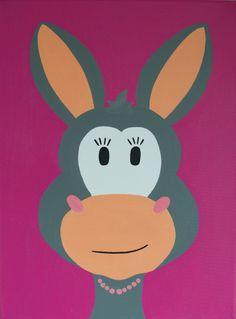 Kinderkamerkunst. Handgemaakt kinderschilderij ezel 30x40. Achtergrond: roze. kinderschilderijen www.byphilomena.nl Gemaakt door: Philomena. Doek Canvas.