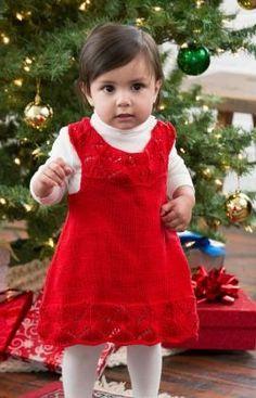 Beautiful Baby Dress Free Knitting Pattern in Red Heart Yarns