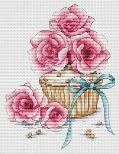 Digital Cross Stitch Patterns by LoLaLottaShop Cupcake Cross Stitch, Cute Cross Stitch, Cross Stitch Rose, Cross Stitch Flowers, Counted Cross Stitch Patterns, Cross Stitch Designs, Cross Stitch Embroidery, Hand Embroidery, Christmas Embroidery Patterns