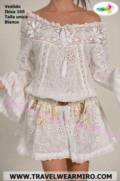 Vestido Ibiza 165 - www. Boho Fashion, Fashion Dresses, Womens Fashion, Casual Dresses, Casual Outfits, Lace Dress, White Dress, Summer Outfits, Summer Dresses
