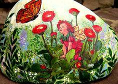 Red Poppy Baby Fairy & Butterfly Garden Rock