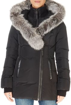 'Adali' Black Down Coat With Silver Fox Fur Trim | Jessimara