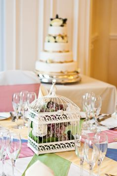 Victorian #Birdcage #wedding Centerpiece filled with gorgeous #flowers by Ambience #LakeDistrict