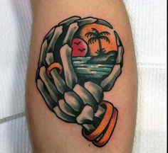 Old School Tattoo Beach Sunset Bones Hand Skeleton Traditional Tattoo