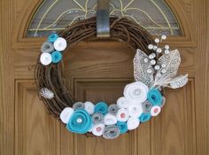 Winter Wonderland Holiday Wreath -Holiday Decor- Christmas Decoration-Rustic Winter Wreath- 14 inch Grapevine and Felt Flower Wreath on Etsy, $36.00