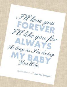 I'll love you forever wall art - 8x10.  via Etsy.