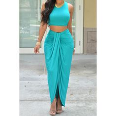 Sexy Round Neck Candy Color Crop Top and Irregular Skirt Two Piece Set... ($11) ❤ liked on Polyvore featuring tops, lake blue, sexy crop top, crop top, blue crop top, sexy tops and blue top