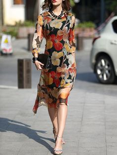 Yellow Silk Floral 3/4 Sleeve Midi Dress