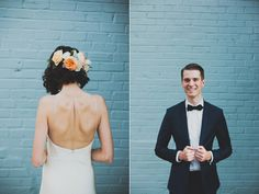 Modern Brooklyn Wedding Shot by Chaz Cruz Day of Coordinator - Jove Meyer Events Dress by Rebecca Schoneveld Suit by Brooklyn Talors