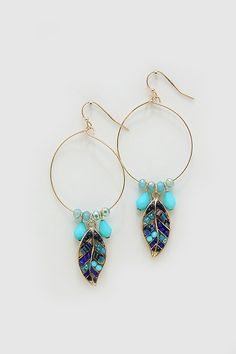 Turquoise Earrings // love the feather charms
