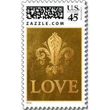 Fleur-de-lys Love stamp  in gold tones