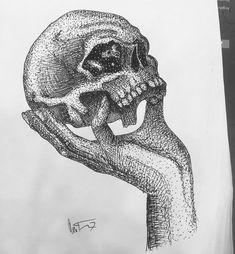 #ink #inktober #dotwork #art Inktober, Skull, Dots, Tattoos, Stitches, Tatuajes, Tattoo, Tattos, Skulls
