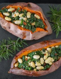 Simple Supper Recipe: Savory Stuffed Sweet Potatoes with White Beans and Kale ~  It can be a complete meal by itself, and is adaptable to what you have on hand. it makes a satisfying meal full of colors and textures and the warm flavors of rosemary, garlic, and red pepper – and significantly more nutrients than a plate of cookies.