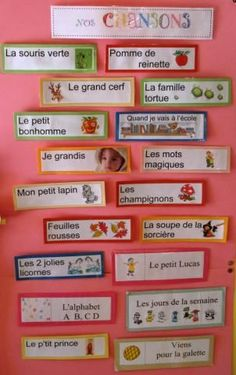 great idea to keep a visual bank of songs/comptines that we have learned. Classroom Organization, Classroom Management, Organization Ideas, Learning Through Play, Kids Learning, French Poems, Core French, French Classroom, French Resources