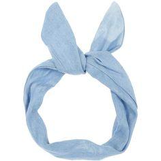 Light Blue Bleach Denim Wire Headband found on Polyvore