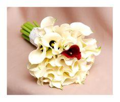 White calla beautiful wedding bouquet