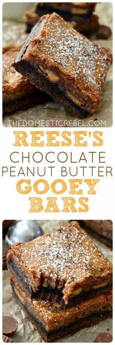 These Reese's Chocolate Peanut Butter Gooey Bars are outrageous! A chocolate brownie bottom topped with Reese's peanut butter cups and a glorious chocolate peanut butter gooey layer! An EASY recipe that's sure to impress! Chocolate Peanut Butter Dessert, Brownies With Peanut Butter, Easy Peanut Butter Desserts, Peanut Butter Bars, Reese's Chocolate, Desserts Sucrés, Chocolate Peanuts, Chocolate Brownies, Chocolate Desserts