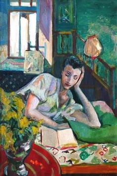 woman reading in bed, F.B. Serger 1889-1965