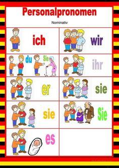 Welcome in German – Personal pronouns – Nominative Study German, German English, Learn German, Learn French, German Grammar, German Words, German Language Learning, Teaching Language Arts, Welcome In German