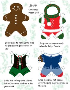 Snap, Christmas gingerbread paper doll by robyn Gingerbread Crafts, Christmas Gingerbread, Christmas Paper, Christmas Crafts, Christmas Ornaments, Paper Puppets, Paper Toys, Paper Crafts, Christmas Activities
