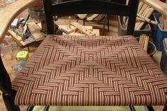 Cross in cranberry/beige/black stripe Black Stripes, Beige, Patterns, Chair, Home Decor, Block Prints, Decoration Home, Room Decor, Stool