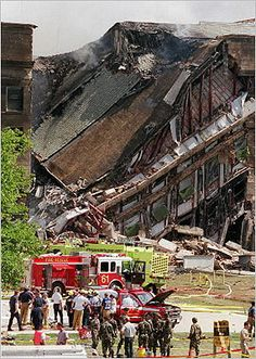 September 11, 2001 | In Arlington, Va., the Pentagon Building burst into flames and a portion of the five-sided structure collapsed after the west wall of the building was hit by the hijacked American Airlines Flight 77 at 9:40 a.m. All 64 people on board the flight, including five hijackers, died. The transcontinental flight left Washington Dulles International Airport in Virginia for Los Angeles International Airport. The crash resulted in a halt to trading on Wall Street.