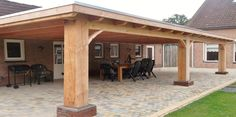 Classic sturdy wooden porch with pla / # classic … Deck Designs Backyard, Outdoor Pavilion, Backyard Pavilion, Building A Carport, Backyard Landscaping Designs, Backyard Seating Area, Wooden Porch, Rustic Patio