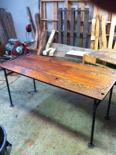 Barn wood Fir and Cast Iron Pipe Desk by JSReclaimedWood on Etsy, $649.00 (love the cast iron legs! another great studio work space.)