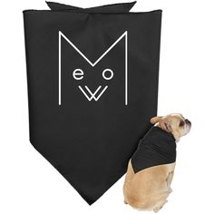 Meow Doggie Bandana, White Design – Optic Poem Design