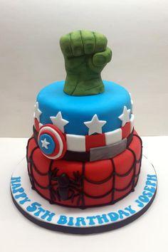"Super Hero Birthday Cake - 6"" Vanilla Captain America & 8"" Chocolate Spiderman birthday cake with sugarpaste Hulk fist :o) Cake by Sarah Poole"