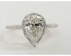 2.51 Carat Diamond Pear Shaped Halo Diamond Engagement Ring | Recently Purchased | Blue Nile