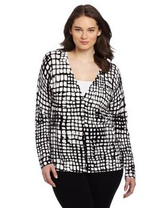 61e04f9dc6 Jones New York Women s Plus-Size Long Sleeve V Neck Cardigan Sweater