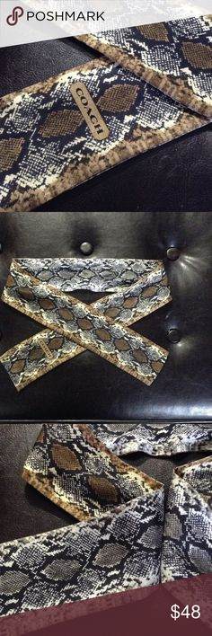 AUTHENTIC COACH SCARF 100% SILK Beautiful authentic snake print coach scarf.  Brand new condition.  Use to dress up any outfit or for your purse!  Offers excepted, but please keep it reasonable! Accessories Scarves & Wraps