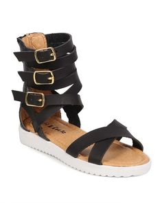 Link EA77 Leatherette Open Toe Buckle Criss Cross Gladiator Sandal (Toddler/ Little Girl/ Big Girl) - Black ** Hurry! Check out this great product : Girls sandals
