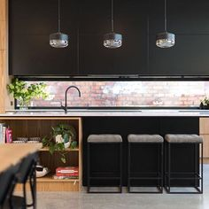 The black and timber kitchen from our Bastings St project! We are going for a completely different style next time - and sadly no opportunity for a window splash black. Tiles or stone, what do you guys think?  Project by @buildhercollective | Built by @beirinprojects |  by @aspect11