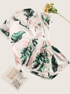 Shop & Buy Tropical Print Satin Pajama Set Casual Sleep Wear Shorts Sets Short Sleeve Pocket Women Summer Pajama Set Online from Aalamey Cute Sleepwear, Sleepwear Women, Pajamas Women, Loungewear, Satin Pyjama Set, Satin Pajamas, Pajama Set, Cocktail Party Outfit, Plaid Pajamas