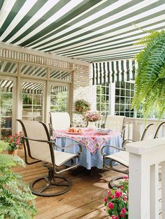 Create a Canopy  A traditional awning offers protection from the blazing summer sun -- as well as from the neighbors' second-floor windows. Awnings come in a range of styles and options, including retractable types that you can use whenever you want.