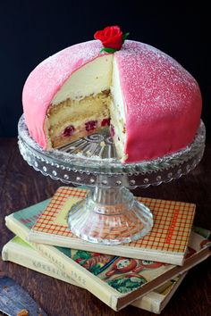Combine layers of sponge cake, pastry + whipped cream and marzipan to create this princess cake.