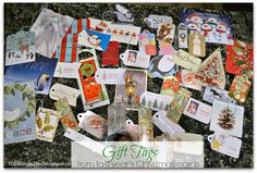 Repurposed Greeting Cards as gift tags.  You can also use them as Christmas tree ornaments.