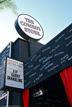 Tribute: The marquee of The Comedy Store in Los Angeles read: 'RIP Garry Shandling' on Thursday. Shandling's death was the result of a massive heart attack