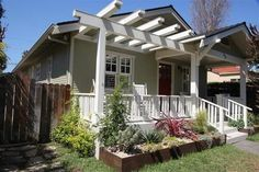 uncovered front porch, beam over porch creates line for pergola.possible idea for front porch/pergola Porch With Pergola, Porch Beams, Patio Pergola, Pergola Attached To House, Pergola Plans, Pergola Ideas, Pergola Shade, Patio Ideas, Pergola Swing