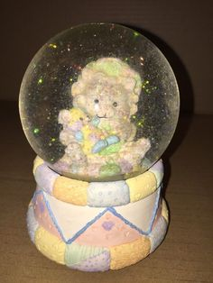 Patchwork Bear Holding A Teddy Bear Music Water Globe Plays A Happy Upbeat Tune…